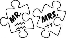Mr vagy Mrs horoszkóppal - vasalható matrica