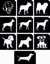 Kutyák -  csillámtetoválás SABLON készlet - 10 darabos
