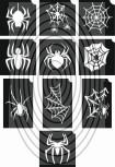 Pókok, pókhálók -  csillámtetoválás SABLON készlet - 10 darabos