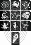 Vízi állatok -  csillámtetoválás SABLON készlet - 10 darabos