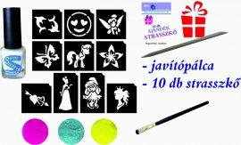 LÁNYOS mini csillámtetoválás készlet (15 db-os - 10 sablon / 3 csillámpor)