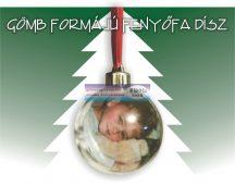 Egyedi fényképes karácsonyfa /fenyőfa/ dísz - gömb alakú